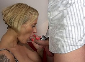 Hot German Housewife gets a rubdown with an increment of convulsion some