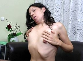 Prudish housewife acquiring drenched increased by masturbating